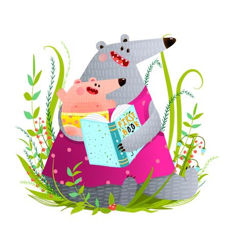 子供に本を読んで母親を負担します。  イラスト・ベクター素材