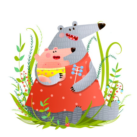 Bear Young Mother or Nanny with Infant Illustration