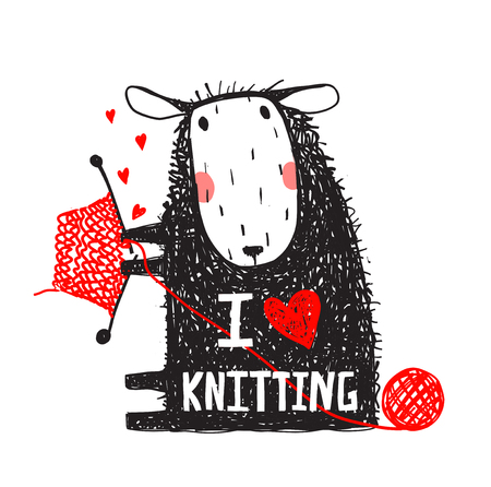 I Love Knitting Sheep Print with Sign Illustration