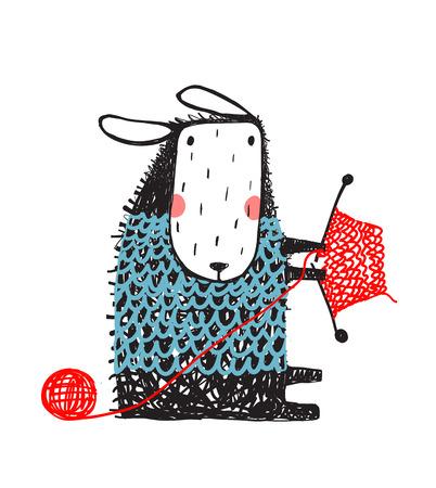 Dzianinowy sweter z zabawnymi owcami