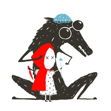 少し赤い乗馬フードのおとぎ話  イラスト・ベクター素材