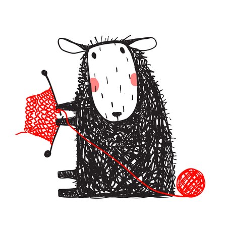 Knitting Cute Sheep Hand Drawn