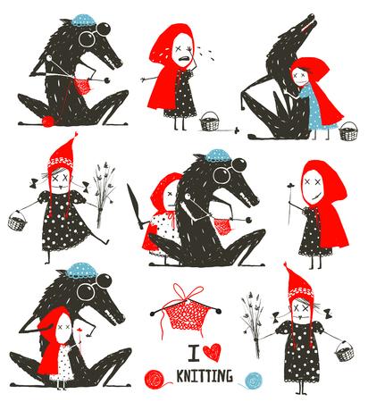 Czerwony Kapturek i kolekcja Wolf Fairytale Ilustracje wektorowe