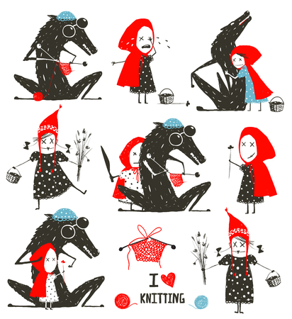 Little Red Riding Hood and Wolf Fairytale Collection Illustration