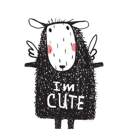 I am Cute Hairy Sheep Sign Card Print