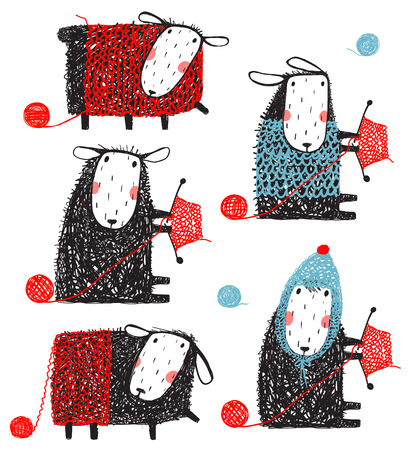 Knitting Crafty Sheep Scribble Cartoon Collection