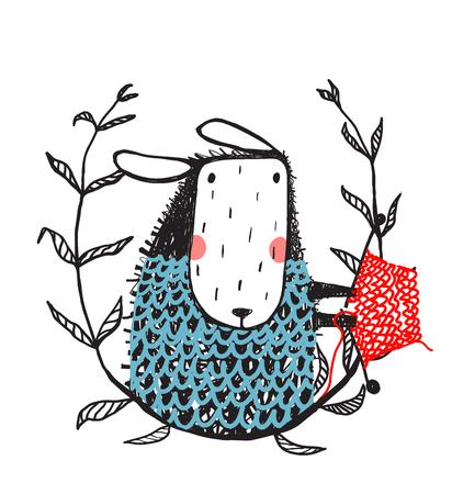 Cute Sheep Knitting Portrait with Laurel Illustration