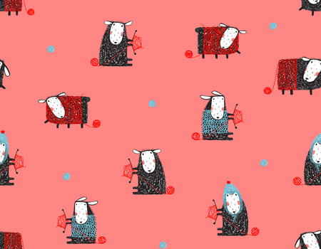 Sheep Knitting Craft Seamless Pattern Background