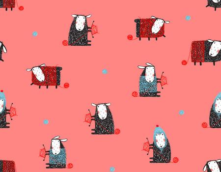 Sheep Knitting Craft Seamless Pattern Background