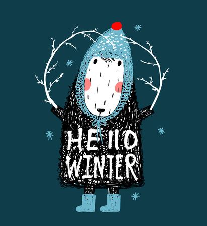 Hello Winter Cute Funny Sheep in Hat Design