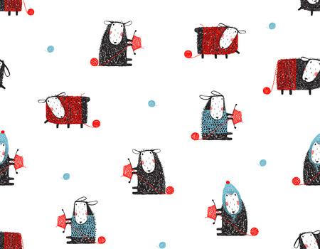 동물 양 재미 패턴 만화 배경 일러스트