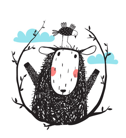面白い羊は、月桂樹と鳥の肖像画