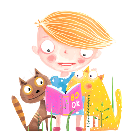 Girl Cat and Dog Reading Book