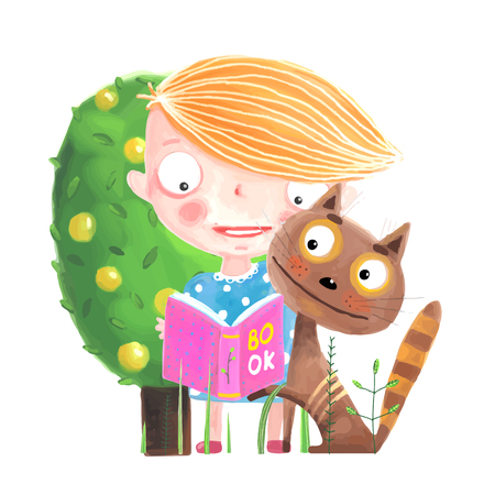 Baby Girl Reading to Cat Illustration