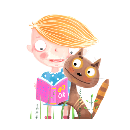 Little Kid and Cat with Book Illustration