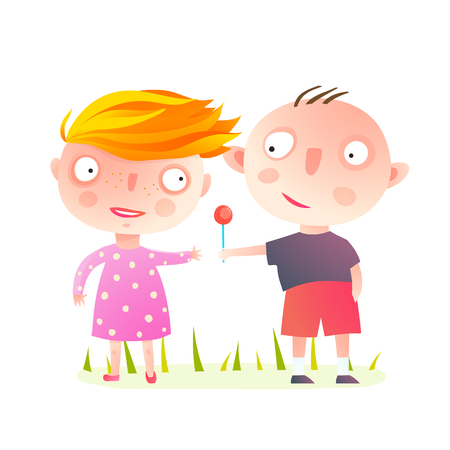 Little Kids Playing Together Sharing Sweets. Boy giving a lollipop to a girl. Vector cartoon.