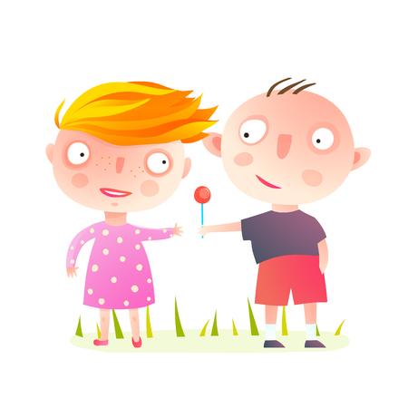 Małe dzieci bawiące się razem, dzielące się słodyczami. Chłopiec daje dziewczynie lizaka. Kreskówka wektor. Ilustracje wektorowe