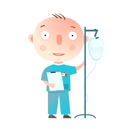 Boy Wants to Become a Doctor Profession Game. Little cute baby boy. Vector cartoon.