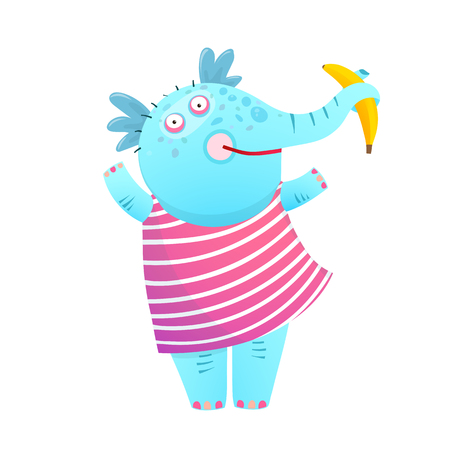 Funny Kids Elephant Eating Banana in Dress. Colorful blue African animal for children. Vector cartoon. Ilustração