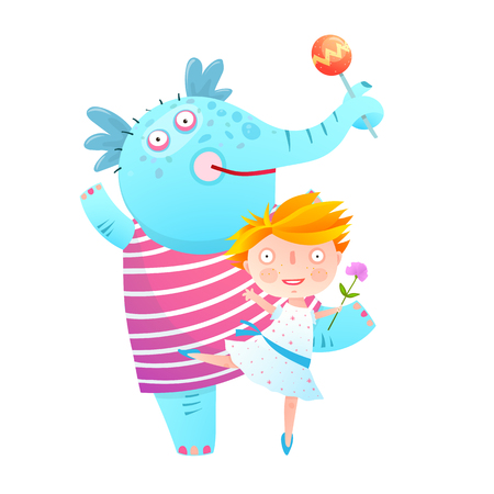 A Girl and Elephant with Fruits in Dress Friends. Kids love playing with elephats childish illustration.Vector cartoon. Illusztráció