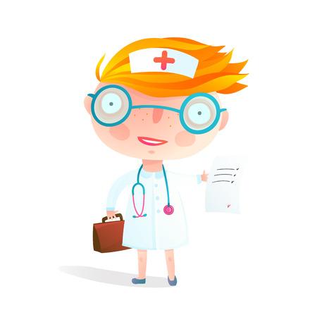 Kids Nurse or Doctor Children Profession Game. Little cute baby girl. Vector cartoon.