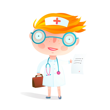 Little cute baby girl want to be a doctor wearing nurse costume. Vector cartoon.