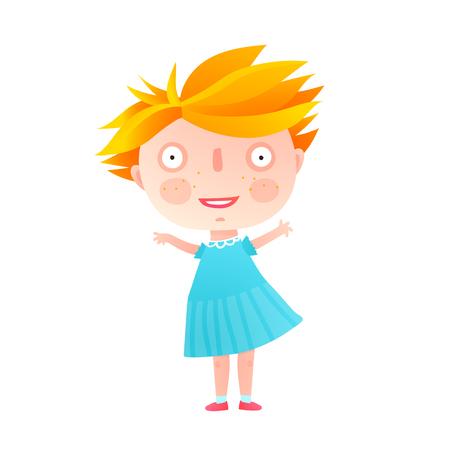 あいさつを分離した女の子クリップアート手。ベクトル漫画。 写真素材