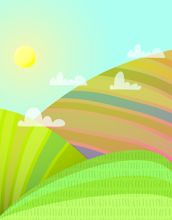 Countryside cartoon landscape with agriculture fields. Vector illustration.