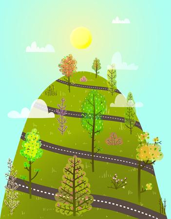 漫画上り坂の森の道路の風景。ベクターイラスト。