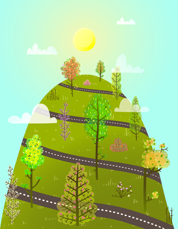 Cartoon uphill forest road scenery. Vector illustration. Stock Photo