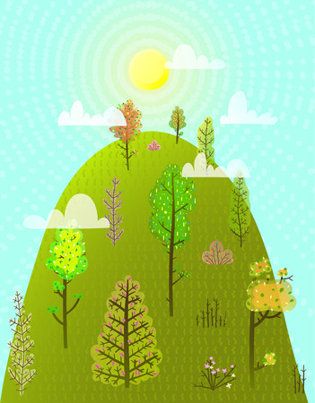 Colorful scenery season landscape background. Vector illustration. Stock Photo