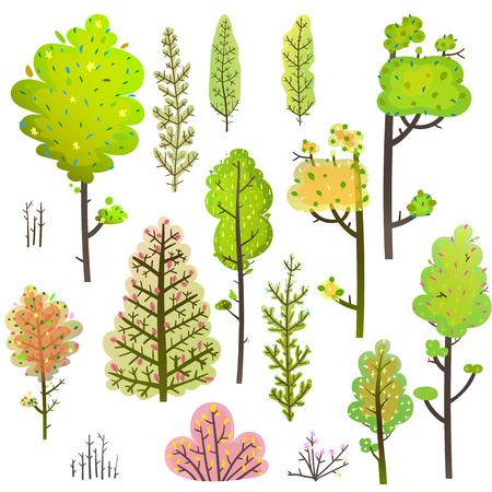 Forest leaf items clipart for designer, transparent foliage. Vector illustration.