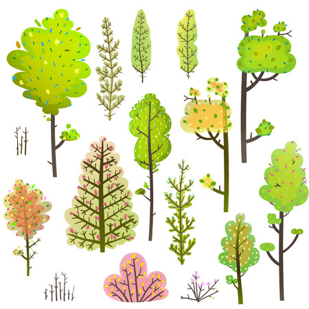 Forest leaf items clipart for designer, transparent foliage. Vector illustration.