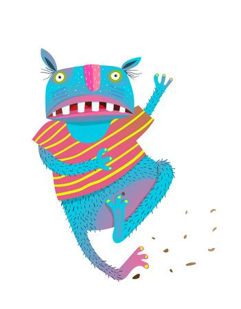 Hilarious cartoon playful monster for kids running. Vector illustration.