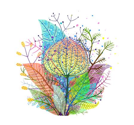 カラフルな花の葉の図。  イラスト・ベクター素材
