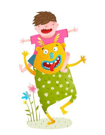 楽しいカラフルな子供のための漫画をからかいます。  イラスト・ベクター素材
