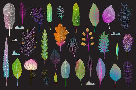 Leaf flowers clipart set isolated on dark illustration.