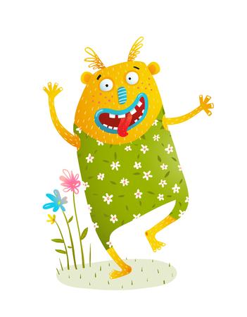Monstre ludique de dessin animé hilare pour les enfants. Banque d'images - 90230949