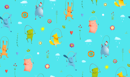Funny animals jumping, playing outside pattern transparent background. Vector cartoon.