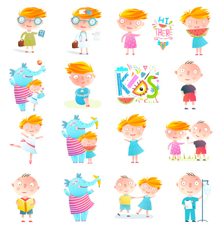 Kids colorful Characters and elephant design set isolated. Vector collection. Stock Photo