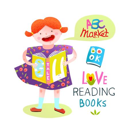 Kleurrijke cartoon voor kinderen van een boek van de meisjesholding in kleding. Vector illustratie. Stockfoto