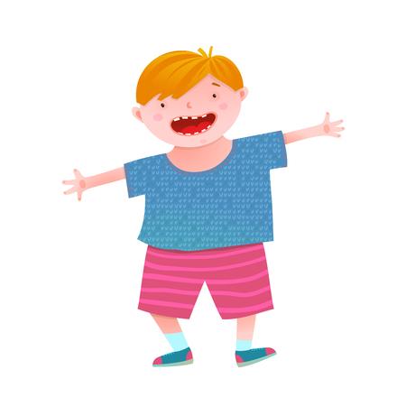 Childish boy mascot funny and cheerful vivid colors. Vector illustration.