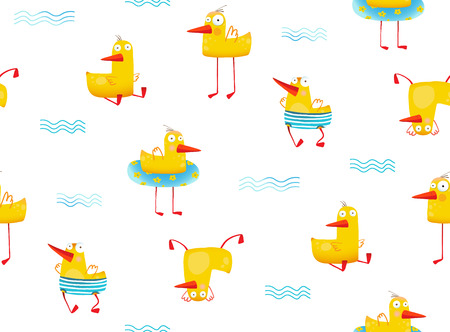 Hilarious funny seamless backdrop illustration with duck bird. Vector illustration.