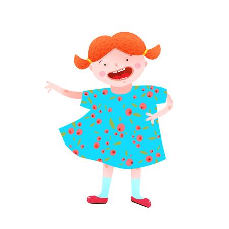 Kinderachtige meisjesachtige mascotte vrolijke en vrolijke levendige kleuren. Vector illustratie.
