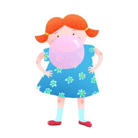 Fun little girl blowing a bubble from chewing gum colorful cartoon. Vector illustration. 版權商用圖片