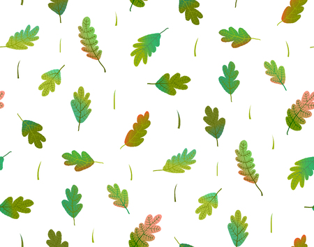 Gradiens colorful hand drawn foliage seamless wallpaper transparent background.Vector illustration. Stock Photo