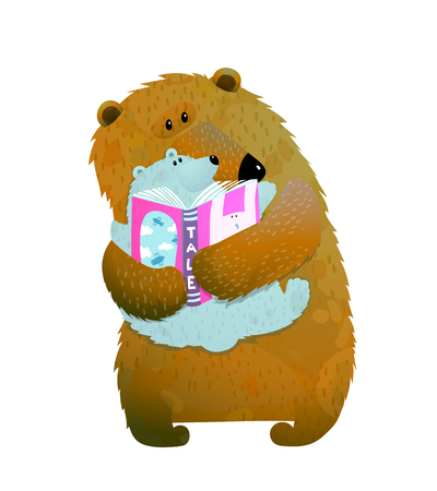 Mother or father bear reading book to bear cub. Vector illustration.