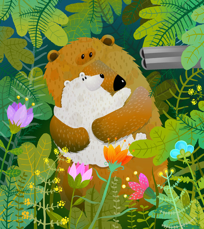 Killing animals in the wild. Mother bear hiding in the forest. Vector cartoon. Stock Photo