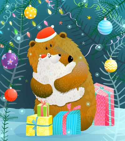 Bear and a baby in winter celebrating christmas time. Vector cartoon.