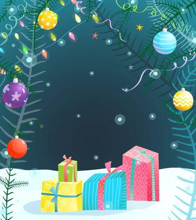 Achtergrond voor de winter Vakantieontwerp Kerstmis of Nieuwjaarvooravond. Vector illustratie Stockfoto